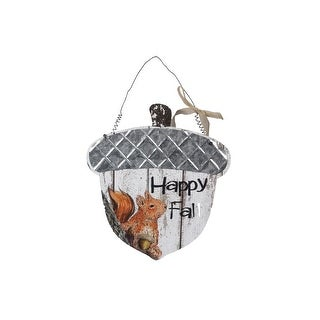 Happy Fall Squirrel on Acorn Shaped Wall or Door Hanger Sign Wood 13.25 Inches