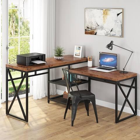 L Shaped Desk, Corner Desk with Shelves