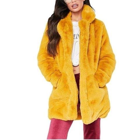 Womens Winter Warm Faux Fur Coat Jacket Overcoat Outwear With Pockets