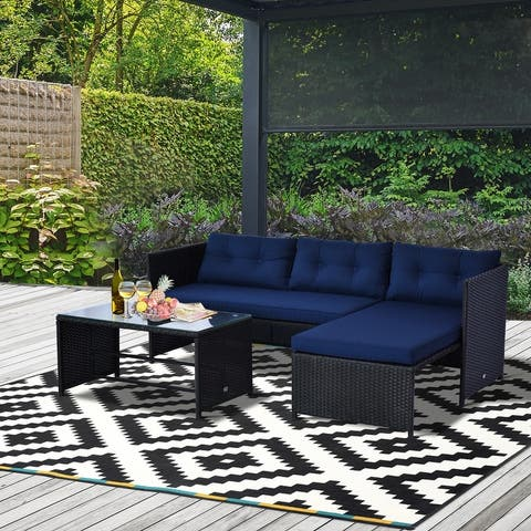 Outsunny 3-Piece Wicker Rattan Patio Set, Includes Sofa, Chaise & Coffee Table, Great for Poolside or Porch Lounging, Blue