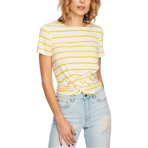 1.State Womens Striped Twist Front Basic T-Shirt