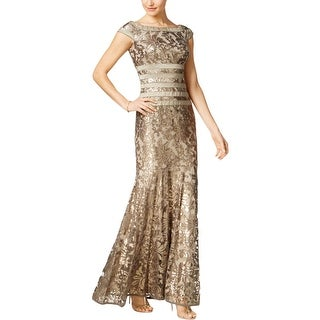 Tadashi Shoji Womens Evening Dress Metallic Sequined