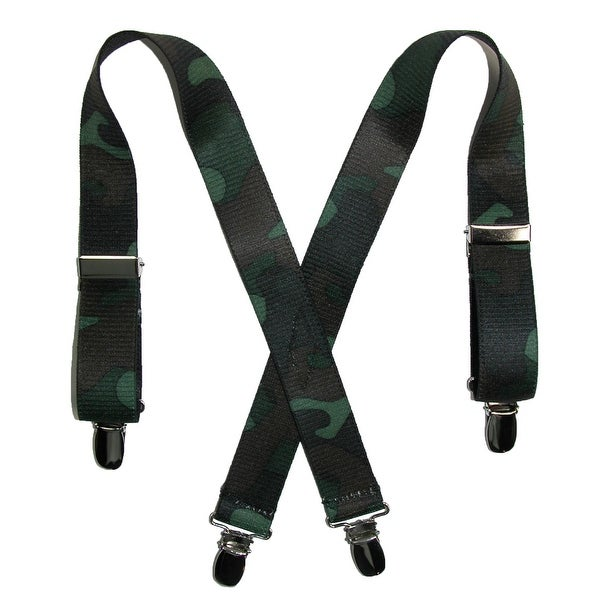CTM® Kids' Elastic 1 Inch Wide Clip-End Camouflage Pattern Suspenders