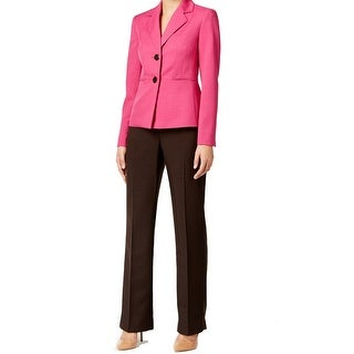 Le Suit NEW Pink Women's Size 14 Colorblock Two Button Pant Suit