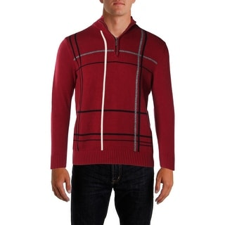 Geoffrey Beene Mens Windowpane Knit 1/2 Zip Sweater