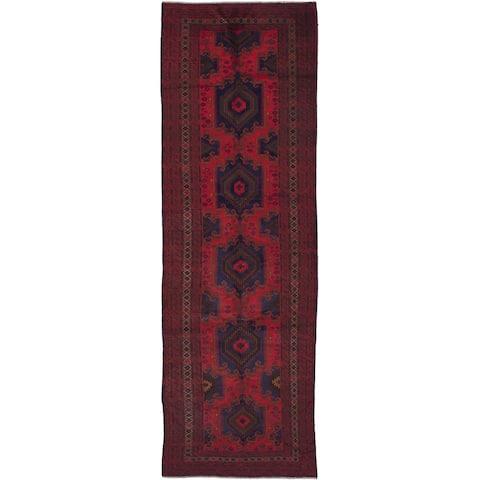 "ECARPETGALLERY Hand-knotted Rizbaft Burgundy Wool Rug - 5'2"" x 16'2"" Runner"
