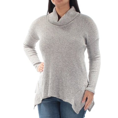 BAR III Womens Gray Long Sleeve Cowl Neck Top Size: L