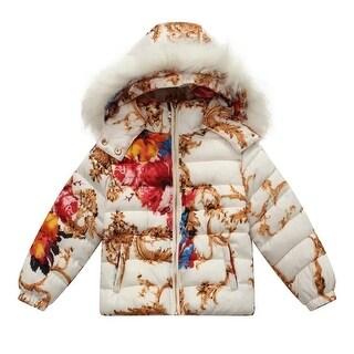 Richie House Baby Girls Red White Floral Print Padding Jacket 24M