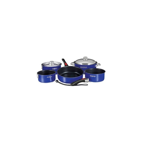 Magma Nesting 10-Piece Induction Compatible Cookware - Slate Black Ceramica Non-Stick Interior - Cobalt Blue Exterior Nesting