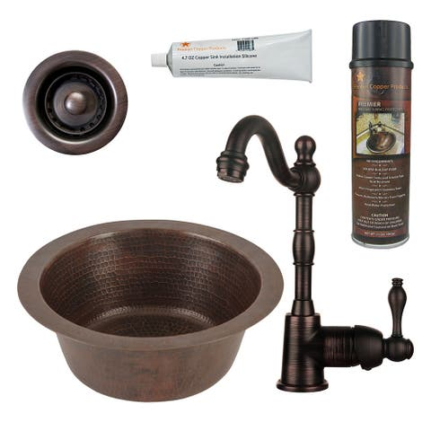 Premier Copper Products BSP4_BR12DB2-B Bar Sink, Faucet and Accessories Package