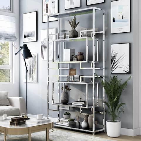 Furniture of America Collon Contemporary Chrome 5-shelf Bookcase