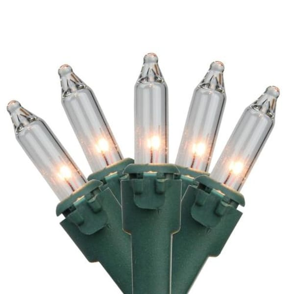"Set of 300 Clear Mini Christmas Lights 2.75"" Spacing- Green Wire"