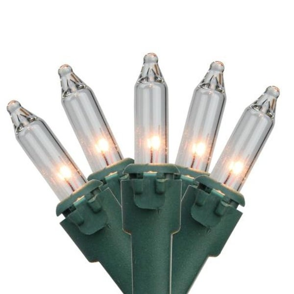 """Set of 50 Clear Mini Christmas Lights 2.75"""" Spacing- Green Wire"""