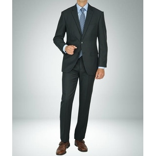 Link to Carlo Studio Black Pinstripe Modern-Fit Suit Similar Items in Suits & Suit Separates
