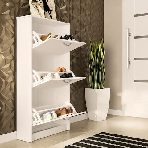 Boahaus Antioch Shoe Organizer, White, 03 drawers, up to 18 shoes