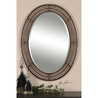 """34"""" Oval Shaped Brown/Gold Tinted and Jeweled Hanging Wall Mirror - Gold"""
