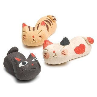 Sleeping Kitty Knife Rests - Stoneware Cats - Set Of 3 - multi