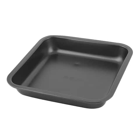 "Bakeware Metal Square Shaped Oven Bread Pizza Baking Mold Pan Tray - Black - 8.5"" x 8.5"" x 1.6""(L*W*H)"