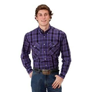 Roper Western Shirt Mens L/S Plaid Snap Purple 03-001-0278-0035 PU
