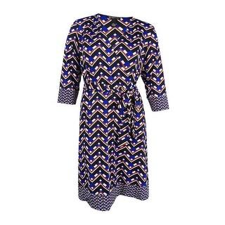 INC International Concepts Women's Plus Size Fit & Flare Faux-Wrap Dress - zig zag ribbon
