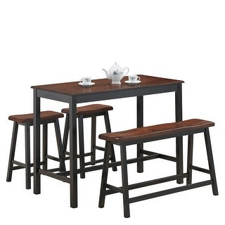 Costway 4 Pcs Solid Wood Counter Height Table Set w/ Height Bench & Two Saddle Stools - Brown