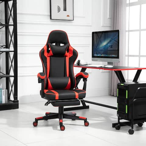 Vinsetto Office Gaming Chair Leather Covered Racing Style Reclining Back&Adjustable Height w/ Lumbar Support&Extensible Footrest