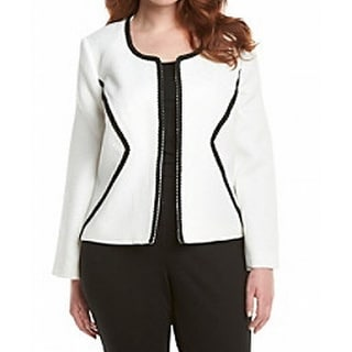 Nine West NEW White Women's Size 14 Jacquard Contrast Trim Jacket