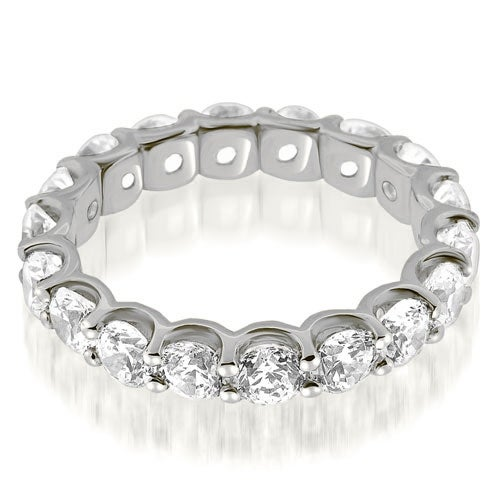 2.70 cttw. 14K White Gold Classic U-Prong Round Diamond Eternity Band Ring