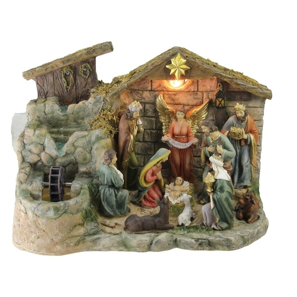 """13"""" Christmas Nativity Scene Indoor Tabletop Water Fountain with Warm White Light - multi"""