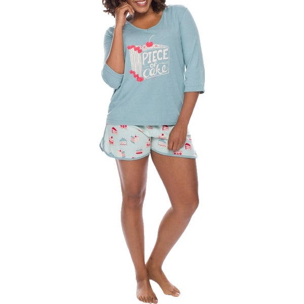 Munki Munki Women's 2 Piece Printed T-Shirt & Shorts Pajama Sleepwear Lounge Set - Light Blue Cakes. Opens flyout.
