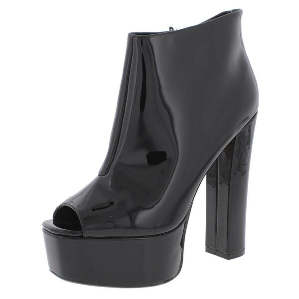 Womens Rhian Patent Open Toe Platform Boots