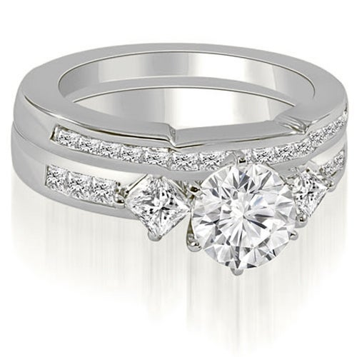 1.65 cttw. 14K White Gold Round And Princess Cut Diamond Bridal Set