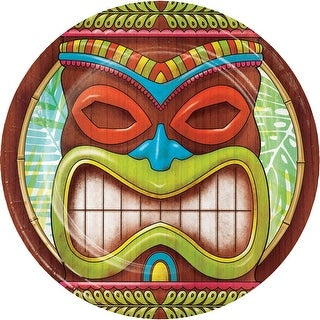 """Club Pack of 96 Brown and Green Tiki Time Designed Luncheon Plate 6.875"""""""