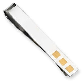 Chisel 24K Gold Plated Polished Stainless Steel Tie Bar