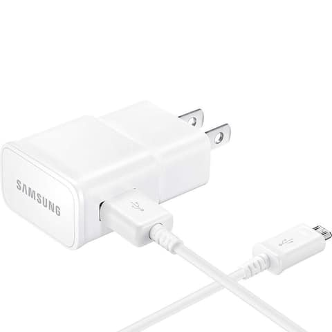 Samsung Galaxy Tab E Adaptive Fast Charger Micro USB 2.0 Cable Kit White Bulk Packaging