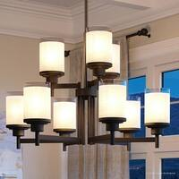 """Luxury Contemporary Chandelier, 28.5""""H x 28""""W, with Transitional Style, Olde Bronze Finish by Urban Ambiance"""