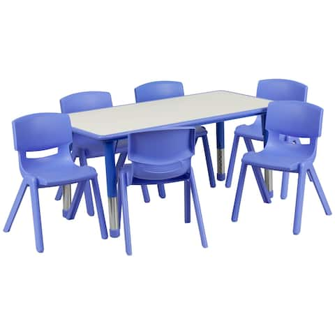 """23.625""""W x 47.25""""L Rectangle Plastic Activity Table Set with 6 Chairs"""