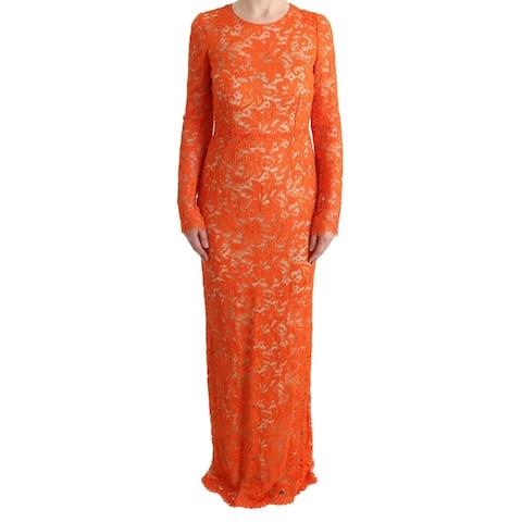 Dolce & Gabbana Orange Floral Ricamo Sheath Long Women's Dress - it42-m