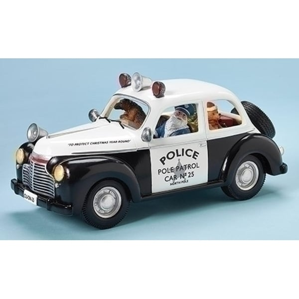 """11.5"""" Amusements LED Lighted Musical Santa Driven Police Car with Dogs Christmas Decoration - black"""