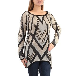 Womens Gold Striped Long Sleeve Jewel Neck Top Size M