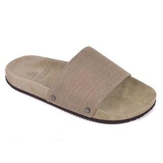 Brunello Cucinelli Mens Grey Textured Jute Canvas Slide Sandals