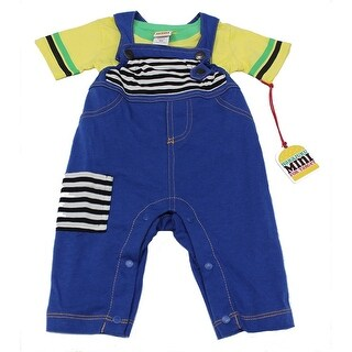 Harajuku Boys Yellow T-Shirt with Blue Jean Overalls - Blue Yellow
