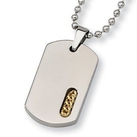 Chisel 24K Gold Plated Polished Titanium Dogtag with 22 Inch Bead Chain (2 mm) - 22 in
