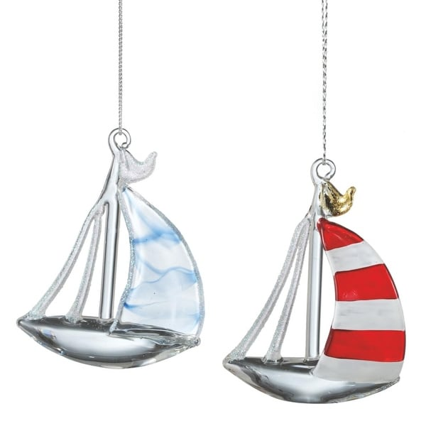 """3.25"""" Seaside Escape Glittered Red and White Striped Nautical Sailboat Glass Christmas Ornament"""
