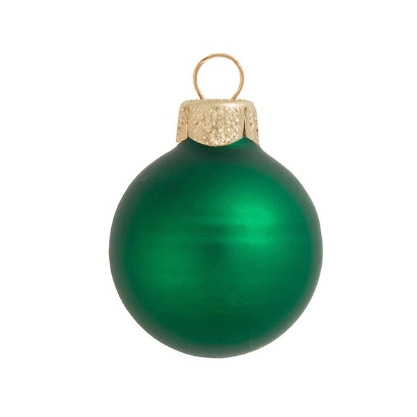 "40ct Matte Green Xmas Glass Ball Christmas Ornaments 1.25"" (30mm)"