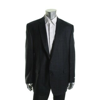 Shaquille O'Neal Mens Wool Glen Plaid Sportcoat