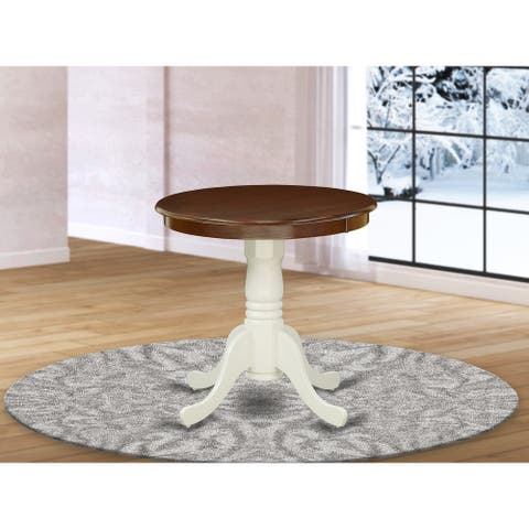 EMT-MLW-TP Rubber Wood Dining Table with Walnut Finish Table Top and Linen White Pedestal