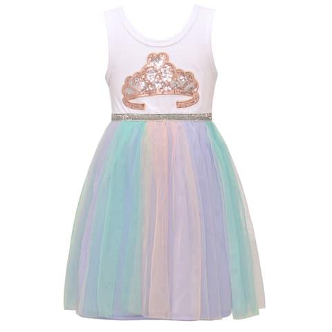 Little Girls White Pastel Tulle Sequined Crown Sleeveless Easter Dress