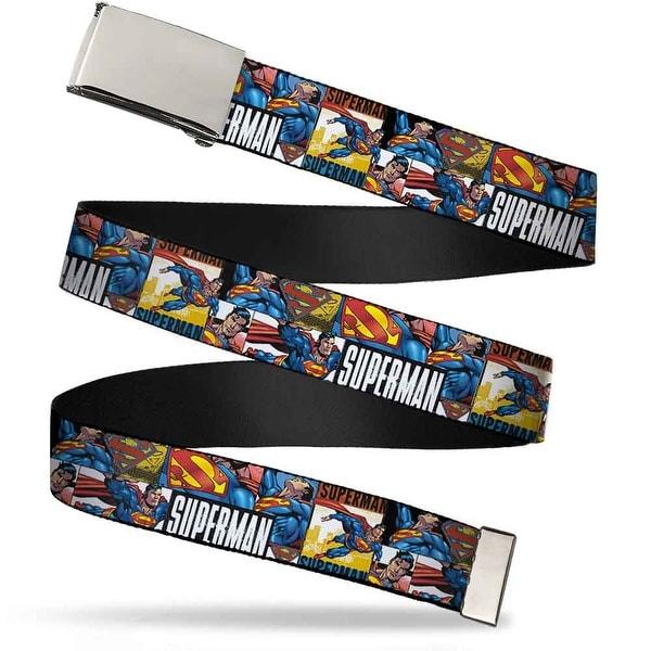 Blank Chrome Buckle Superman Action Blocks White Webbing Web Belt