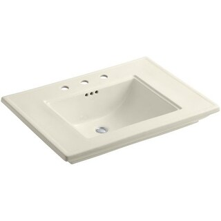 """Kohler K-2269-8 Memoirs Stately 30"""" Fireclay Pedestal Bathroom Sink with 3 Holes Drilled and Overflow"""
